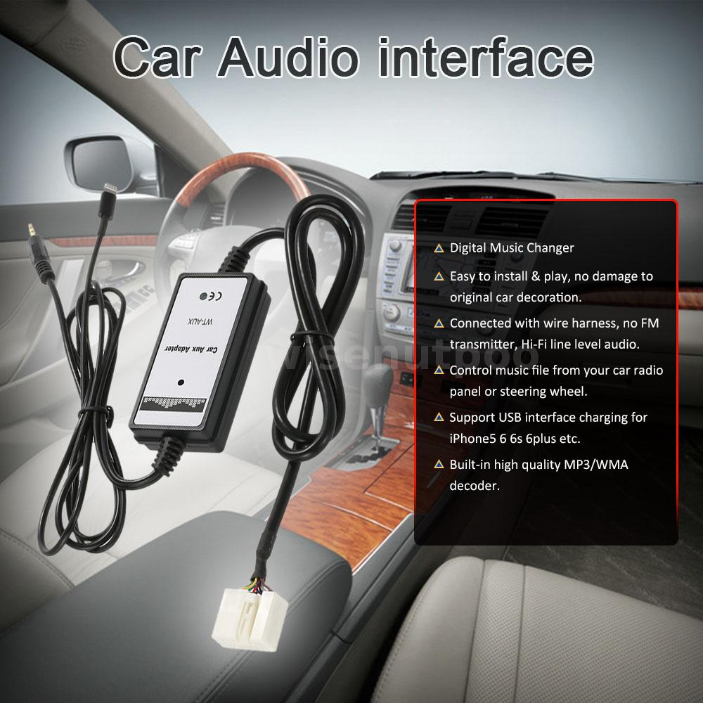 For Honda Acura 6 Pin Car 3.5mm Aux-in Audio Adapter USB